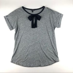 J. Crew Grey Tee Silk Black Bow Size M